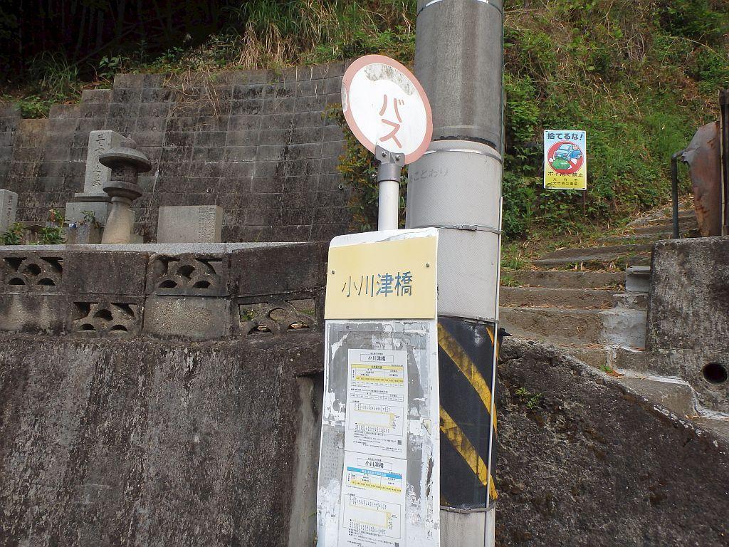 小川津橋バス停の背後には墓所