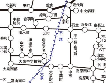 似ていると思った西公文名付近と音羽町付近の路線図