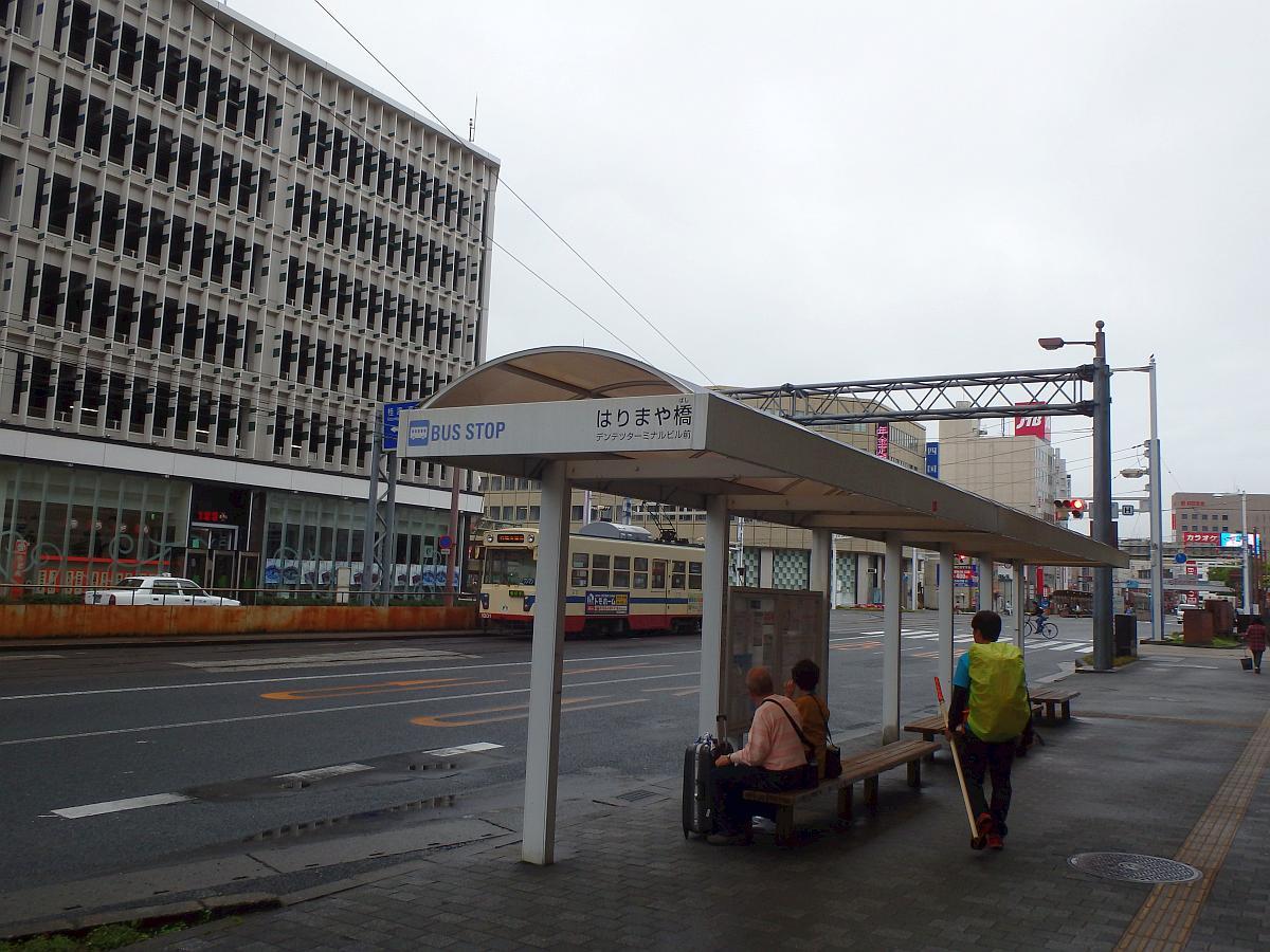 はりまや橋バス停からはりまや橋交差点方向を見て