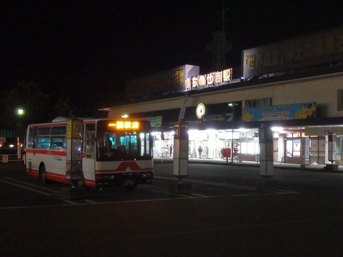一関駅前にて