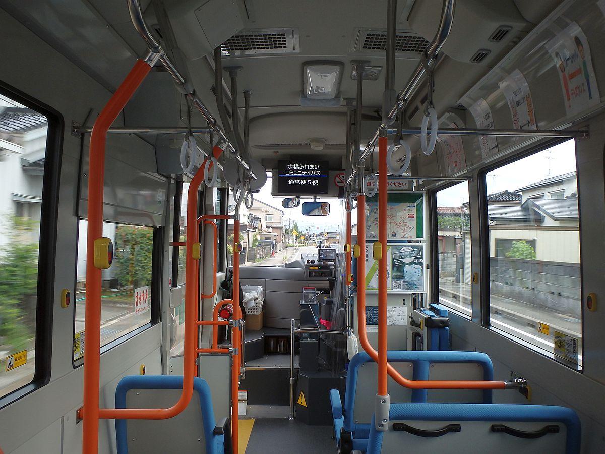 通常、運賃が表示されるモニターには「水橋ふれあいコミュニテイバス 通常便5便」と書かれている
