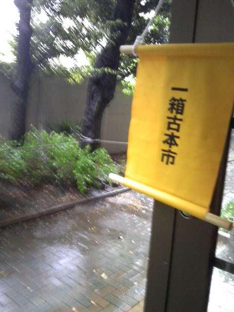 一箱古本市、すごい雨。