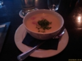 仕事終わってお客さんと食事。ホワイトアスパラのスープうまうま