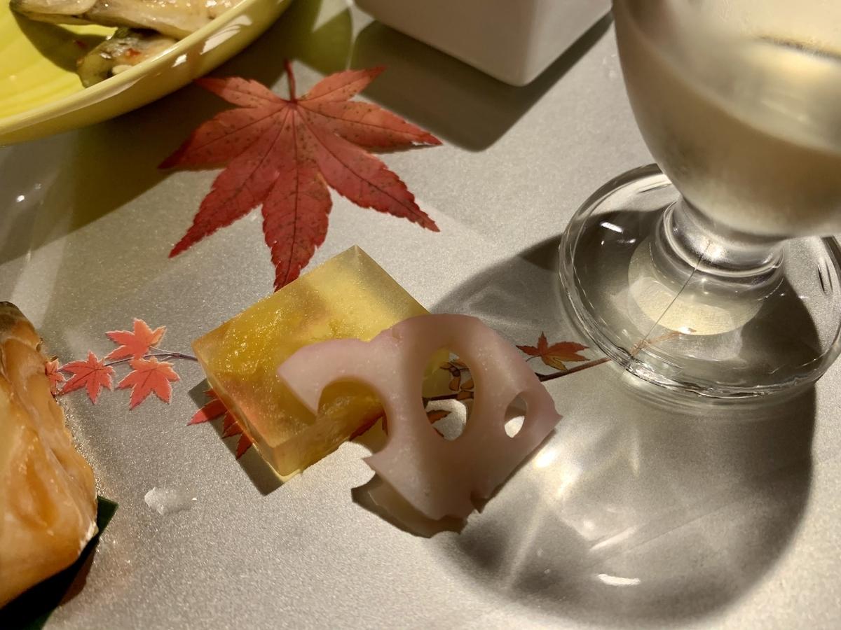 日本料理宝寿の杏羹 酢蓮根