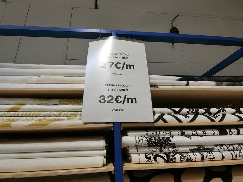 マリメッコアウトレットでのファブリックの価格例
