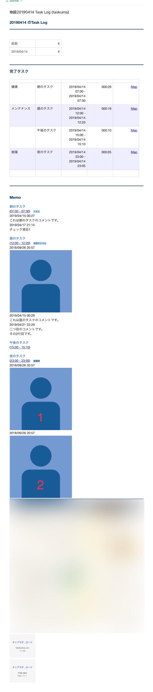 読み込まれたEvernote上のtaskumaのレポート