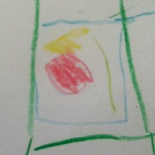 4歳児が描いたお弁当の中身のイラスト。トマトと野菜とカボチャサラダと鮭のパン粉焼き