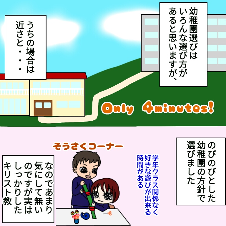 幼稚園とマンションのイラストと幼稚園児二人が工作をしているイラスト
