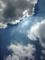 影が落ちるほどの強烈な夏の日差しと厚い雲。2013/7/15-12:41