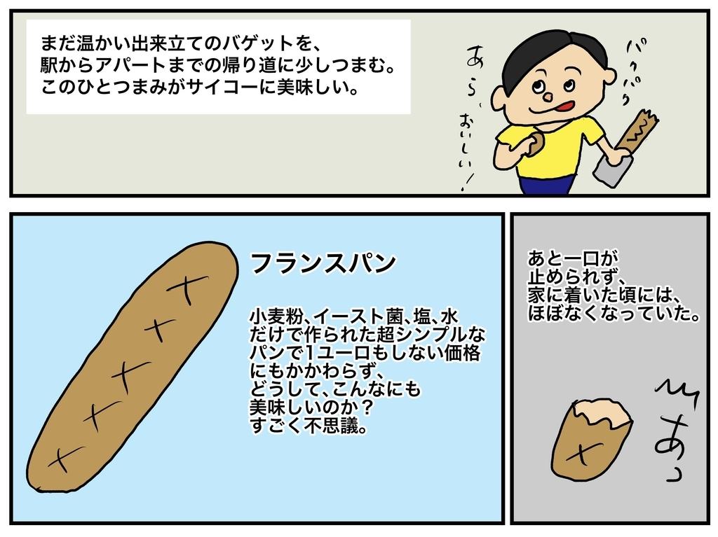 歩きながらバゲットを食べる