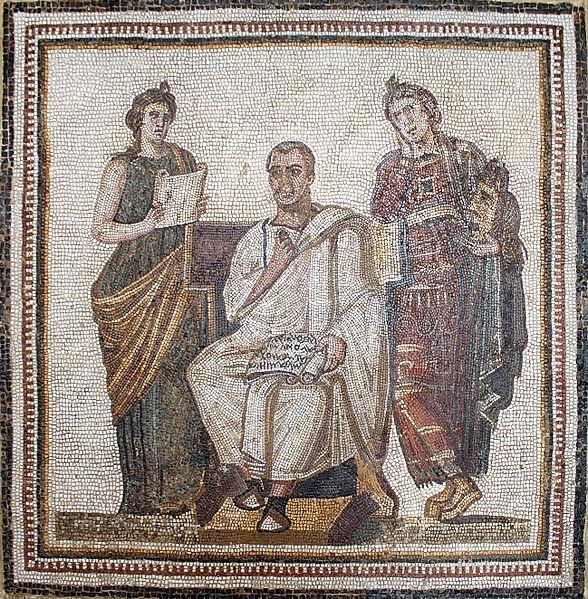 ウェルギリウス(中央)のモザイク画