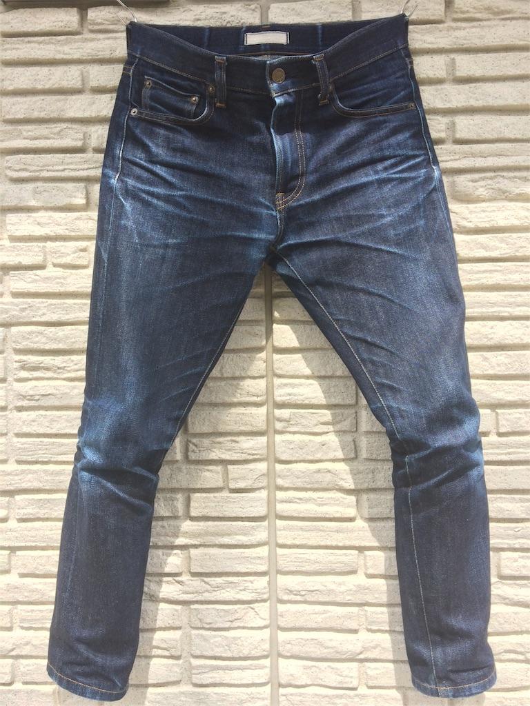 ユニクロセルビッジジーンズ穿き込み7ヵ月の色落ちフロント