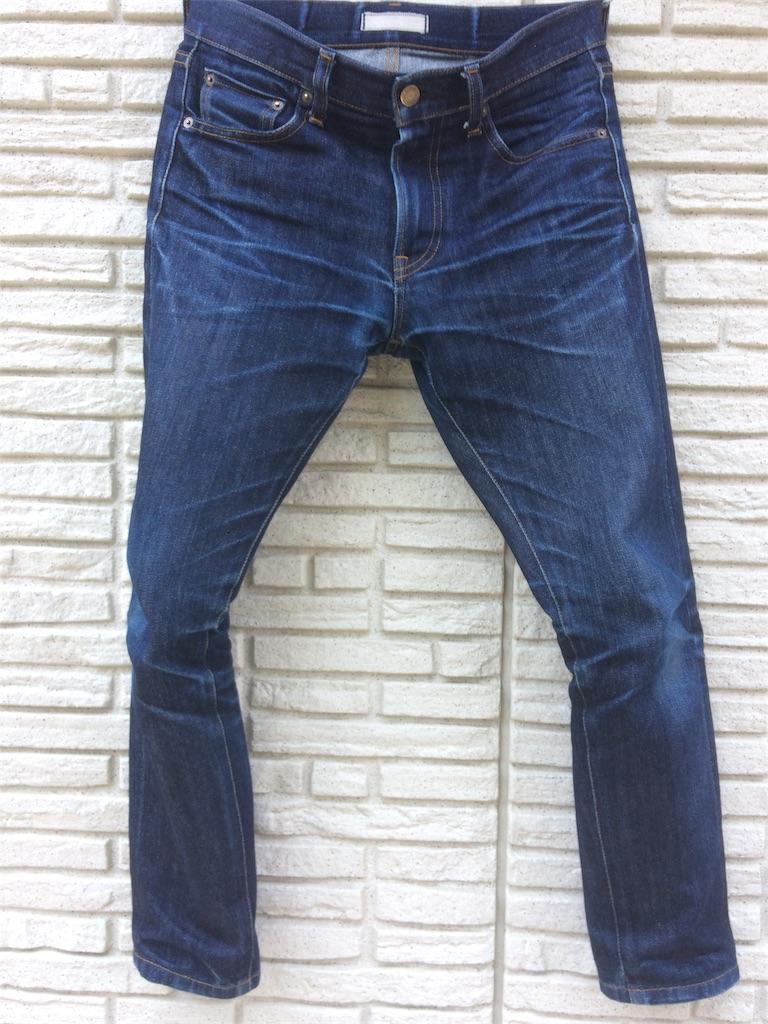 ユニクロセルビッジジーンズ穿き込み8ヶ月の色落ちフロント