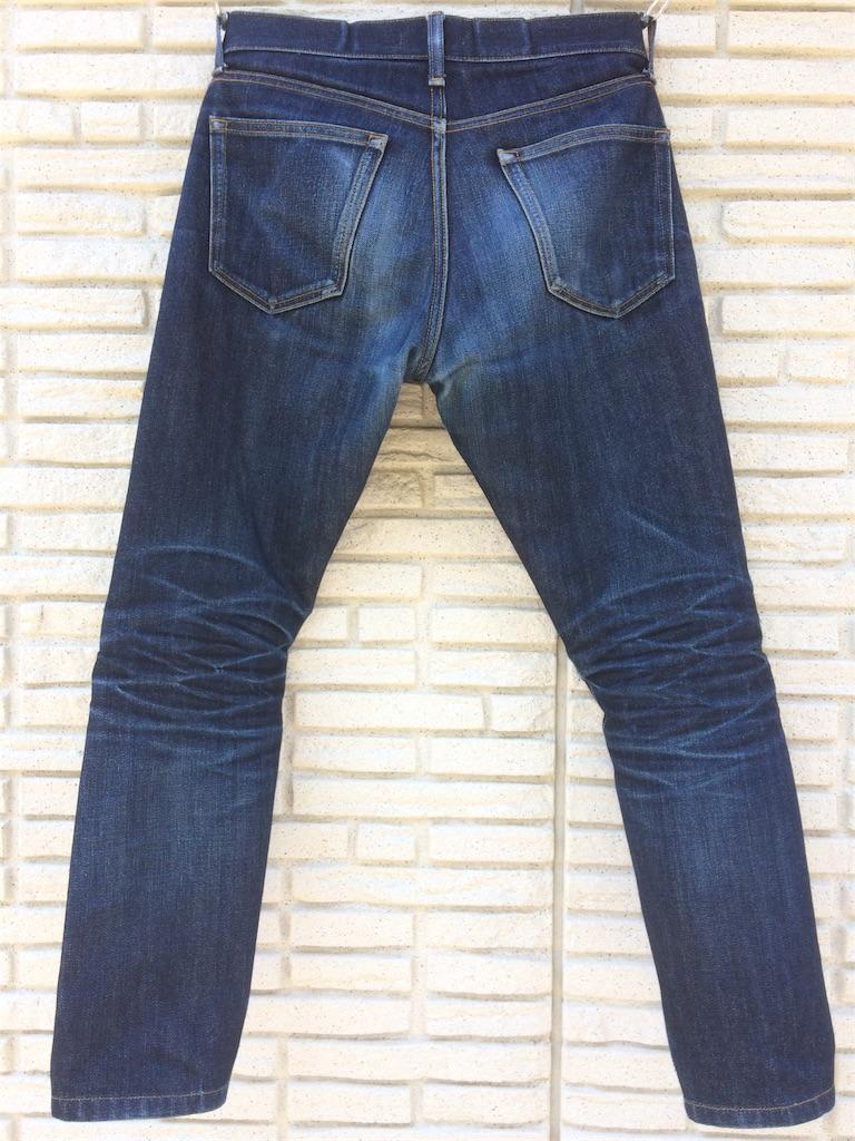 ユニクロセルビッジジーンズ穿き込み8ヶ月の色落ちバック