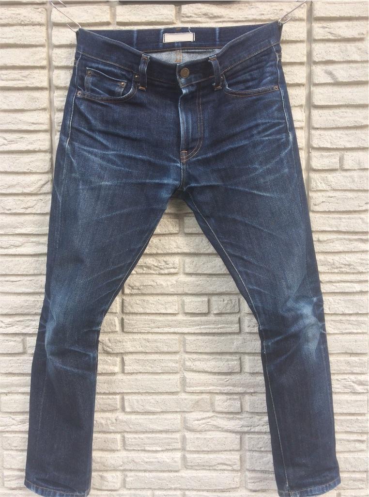ユニクロセルビッジジーンズ穿き込み9ヶ月洗濯前フロント