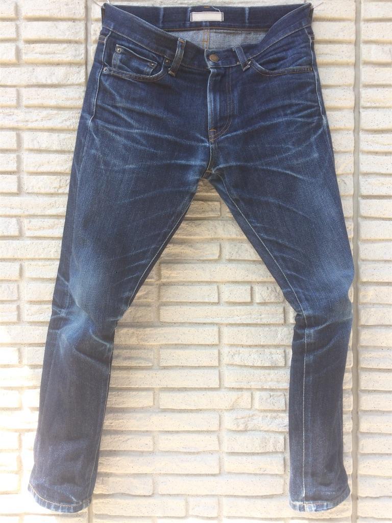 ユニクロセルビッジジーンズ11ヶ月弱の色落ち洗濯前フロント