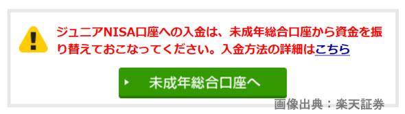 楽天証券のジュニアNISA口座、資金振り替えについての画像