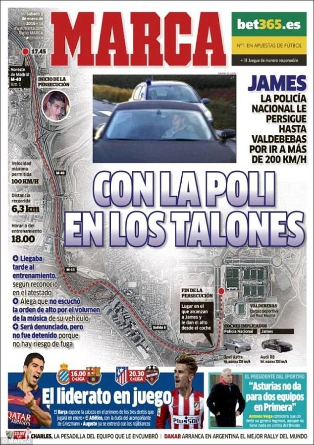 画像:ハメスのカーチェイスを報じるマルカ紙の一面