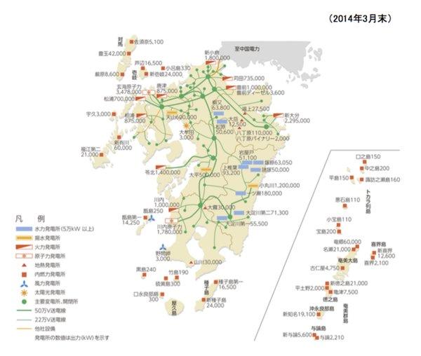 画像:九州地方の配電網図