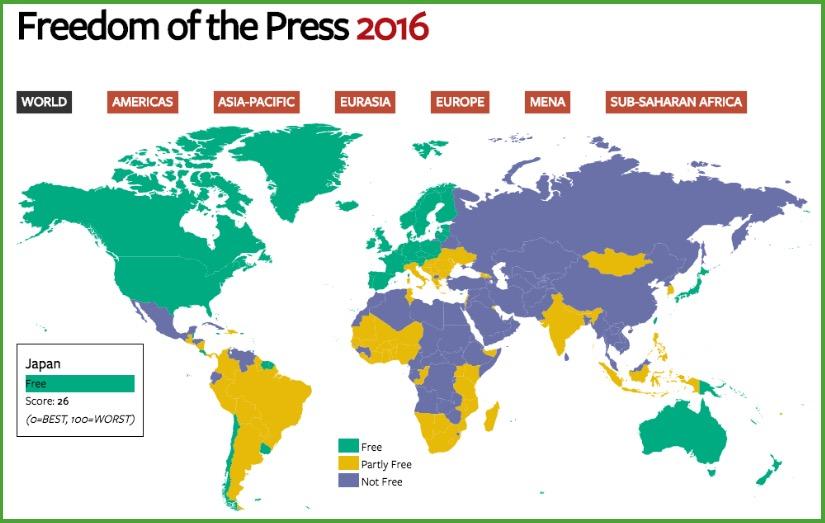 画像:フリーダム・ハウスによる報道の自由度ランキング2016
