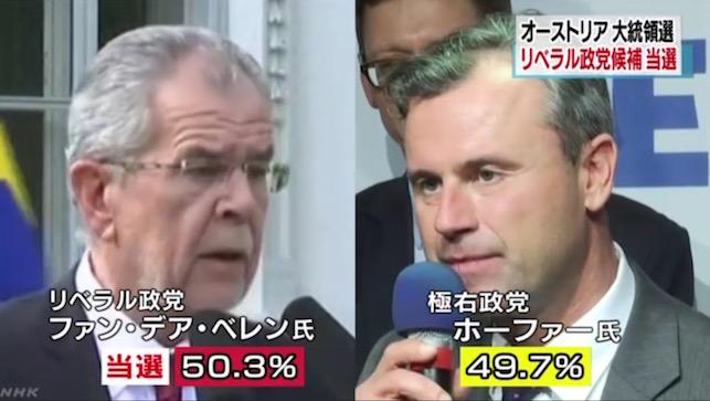 画像:ファン・デア・ベレン候補の勝利を伝えるNHK