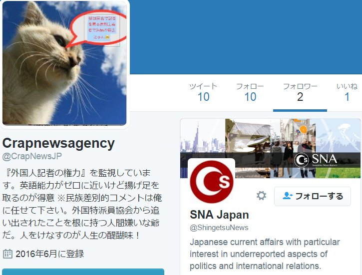 """画像:外国人記者による """"なりすまし"""" アカウント"""