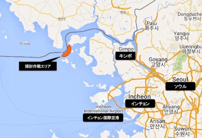 画像:首都ソウルと漢江(ハンガン)河口の位置関係図