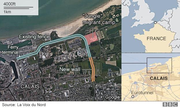 画像:BBCが報じたフランス・カレーに建