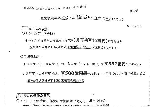 画像:週刊ポストが報じた朝日新聞の社外秘とされる文書