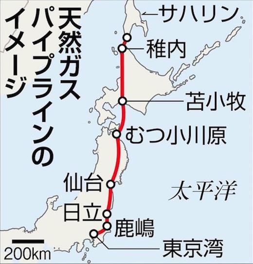 画像:日露間の天然ガス・パイプライン計画(産経新聞)