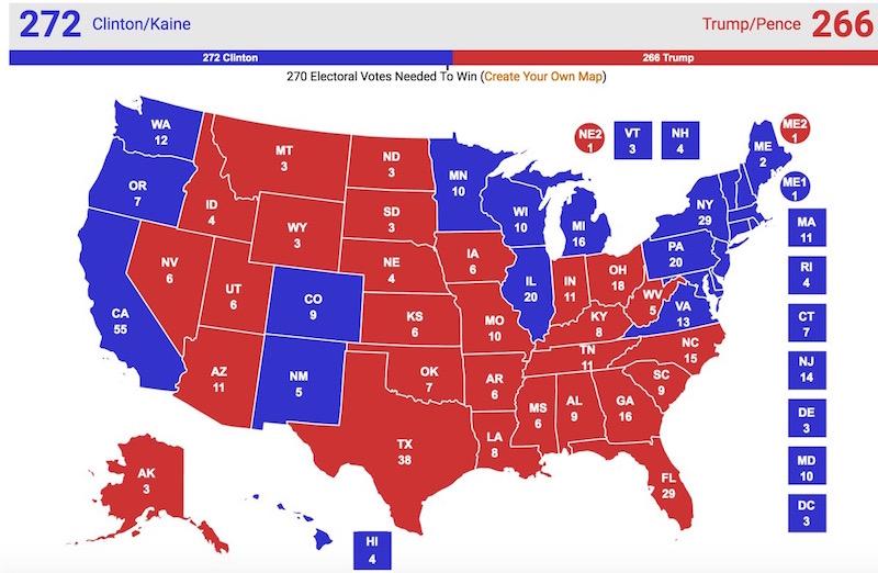 画像:リアル・クリア・ポリティクスによる2016年アメリカ大統領選の勝敗予想