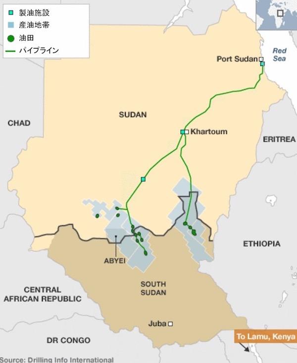 画像:南スーダンの石油地帯とパイプライン