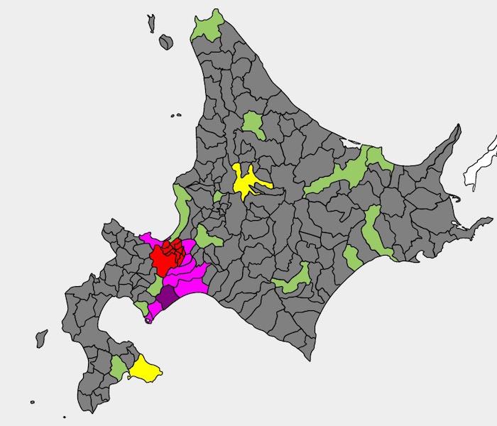 画像:北海道の人口2分図