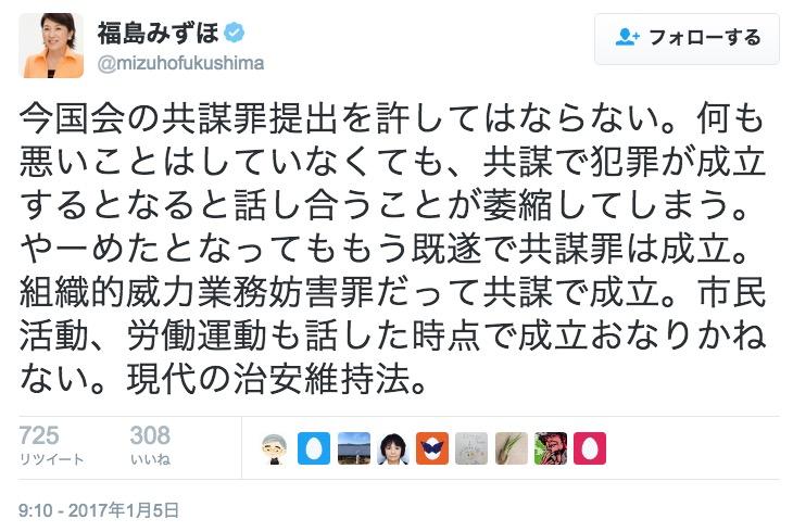 画像:福島みずほ参院議員のツイート