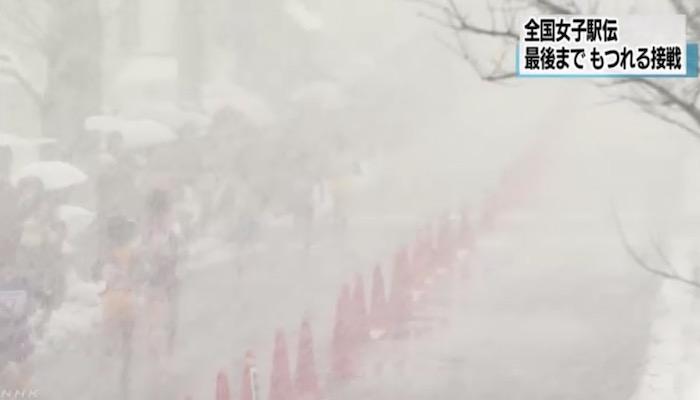 画像:都道府県対抗全国女子駅伝の様子(NHKより)