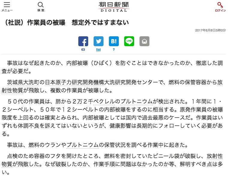 画像:朝日新聞の社説(6月8日付)