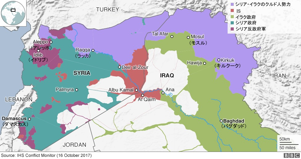 画像:シリアとイラクの勢力図