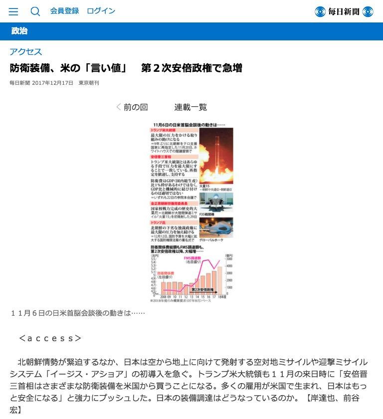 画像:毎日新聞が報じた記事(12月17日付)