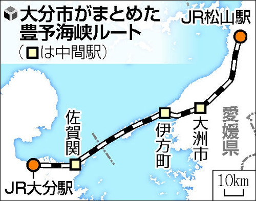 画像:豊予海峡ルート(読売新聞より)
