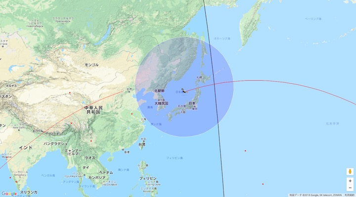 画像:『天宮1号』の予想位置:4月1日午前5時1分頃(日本時間)