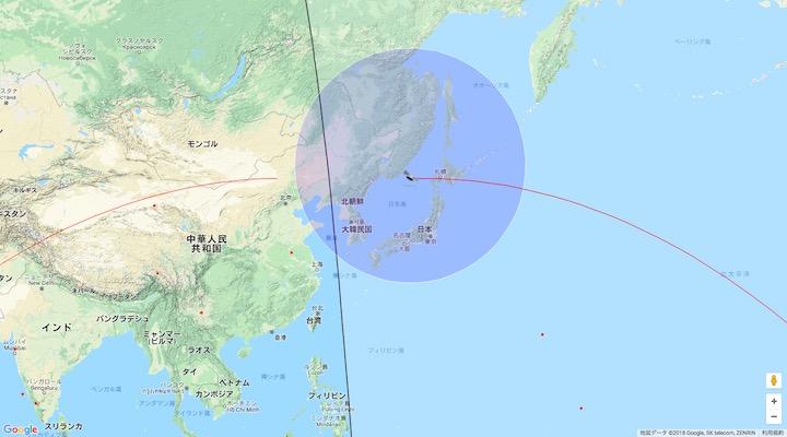 画像:『天宮1号』の予想位置:4月1日午前6時34分頃(日本時間)