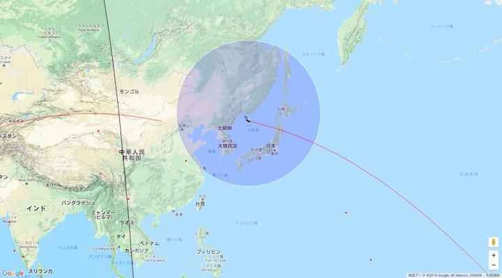 画像:『天宮1号』の予想位置:4月1日午前8時6分頃(日本時間)