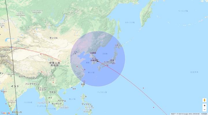 画像:『天宮1号』の予想位置:4月1日午前9時37分頃(日本時間)