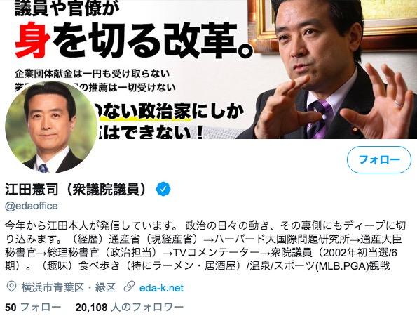 画像:江田議員のツイッタープロフィール