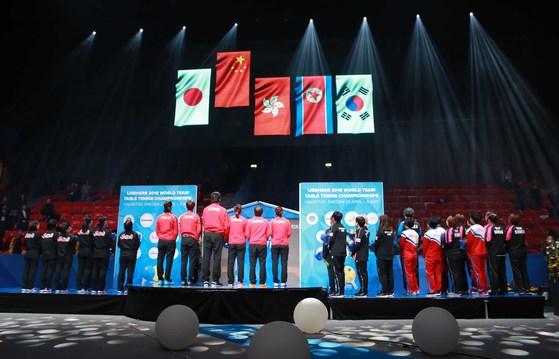 画像:卓球世界選手権2018(女子団体)の表彰式