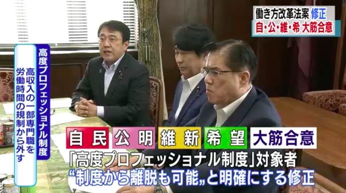 画像:修正協議を行う与野党4党(自民・公明・維新・希望)