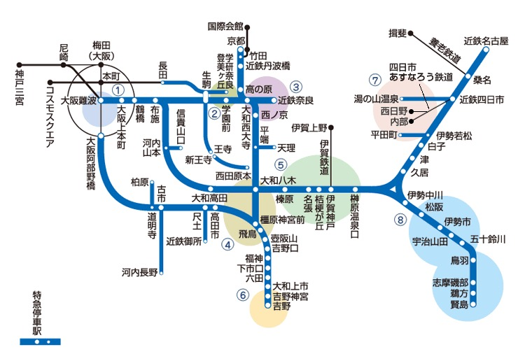 画像:近鉄の路線図