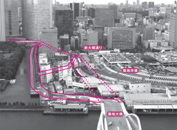 画像:築地市場跡地を通過予定の環状2号線