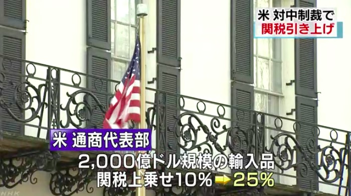 画像:米中間の制裁合戦を報じるNHKニュース