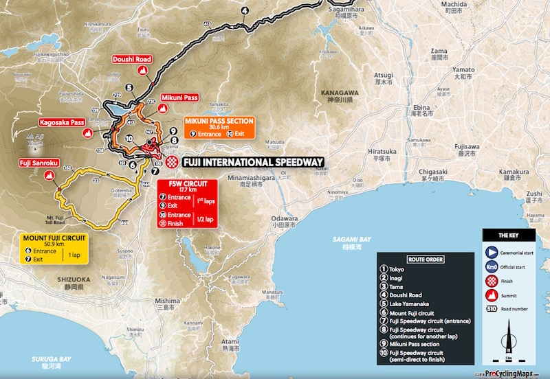 画像:東京五輪・自転車ロードレースのコースマップ